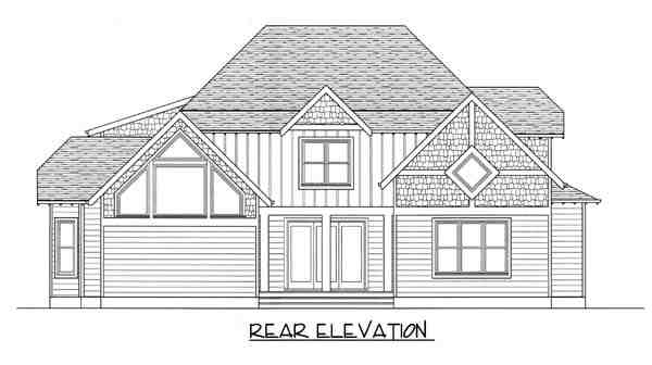 Craftsman House Plan 53817 with 4 Beds, 4 Baths, 2 Car Garage Rear Elevation