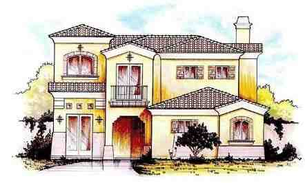 Mediterranean House Plan 54681 with 4 Beds, 4 Baths, 2 Car Garage Elevation