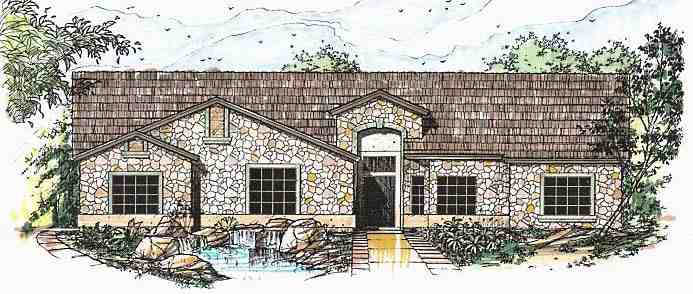 Contemporary, Southwest House Plan 54686 with 4 Beds, 3 Baths, 3 Car Garage Elevation