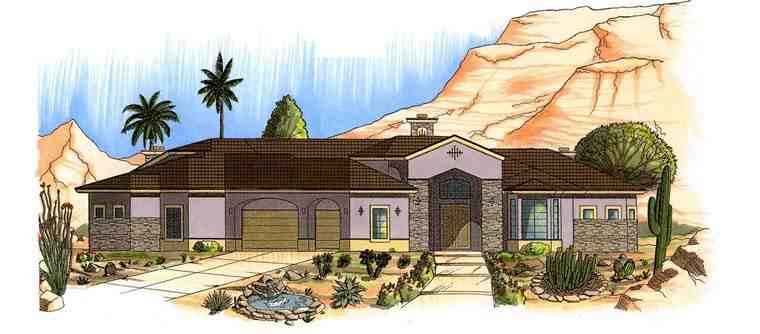 House Plan 54740 with 4 Beds, 6 Baths, 3 Car Garage Elevation