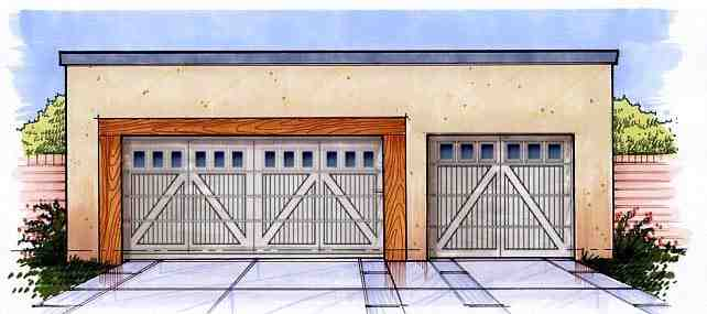 3 Car Garage Plan 54792 Elevation