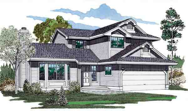 Contemporary, Narrow Lot House Plan 55113 with 3 Beds, 3 Baths, 2 Car Garage Elevation
