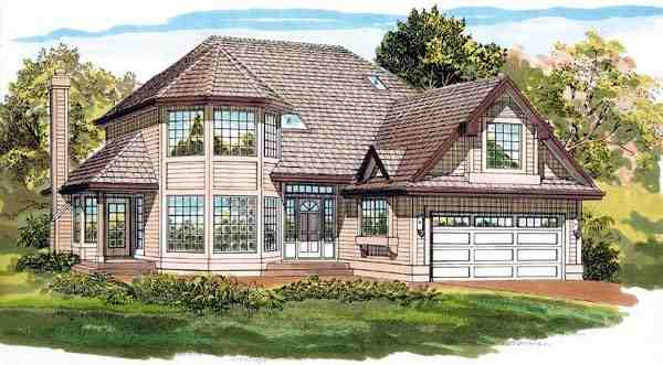 Contemporary House Plan 55483 with 3 Beds, 3 Baths, 2 Car Garage Elevation