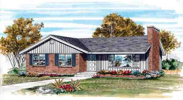 One-Story, Ranch House Plan 55486 with 3 Beds, 1 Baths Elevation