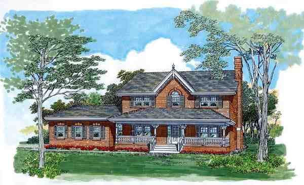 Farmhouse House Plan 55489 with 4 Beds, 3 Baths, 2 Car Garage Elevation