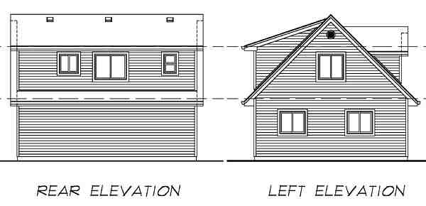 Cape Cod 2 Car Garage Apartment Plan 55546 with 1 Beds, 1 Baths Rear Elevation
