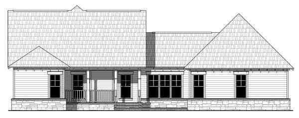 Cottage, Country, Craftsman, Southern House Plan 55601 with 3 Beds, 3 Baths, 2 Car Garage Rear Elevation
