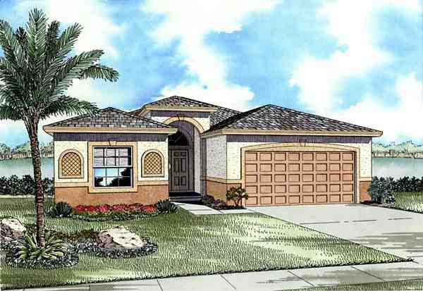 One-Story House Plan 55714 with 3 Beds, 2 Baths, 2 Car Garage Elevation
