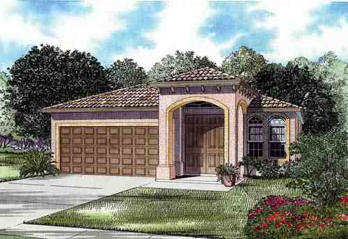 Narrow Lot, One-Story House Plan 55717 with 3 Beds, 2 Baths, 2 Car Garage Elevation