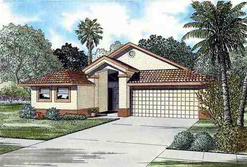 Narrow Lot, One-Story House Plan 55718 with 4 Beds, 3 Baths, 2 Car Garage Elevation