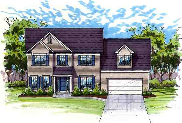 Colonial, Country, Farmhouse, Traditional House Plan 56418 with 4 Beds, 3 Baths, 2 Car Garage Elevation