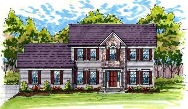 Colonial, Traditional House Plan 56419 with 4 Beds, 3 Baths, 2 Car Garage Elevation