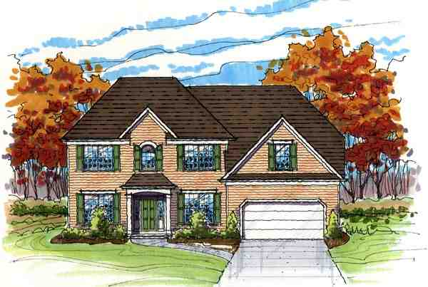 Colonial, Country, Traditional House Plan 56420 with 4 Beds, 3 Baths, 3 Car Garage Elevation