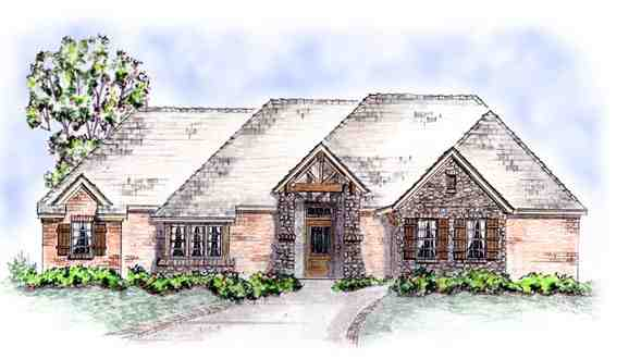 European House Plan 56552 with 3 Beds, 3 Baths, 3 Car Garage Elevation