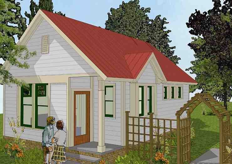 Bungalow, Cabin, Cottage, Traditional House Plan 56581 with 1 Beds, 1 Baths Elevation