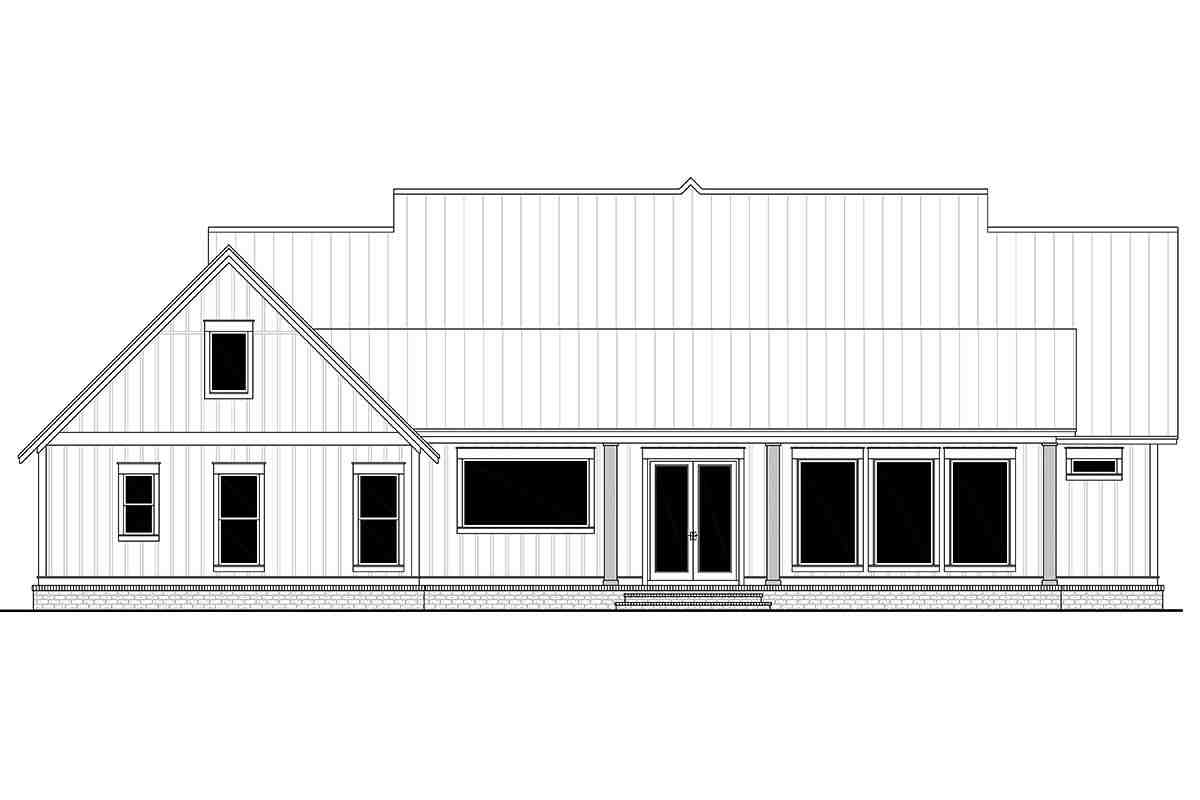 Country, Craftsman, Farmhouse House Plan 56700 with 3 Beds, 3 Baths, 2 Car Garage Rear Elevation
