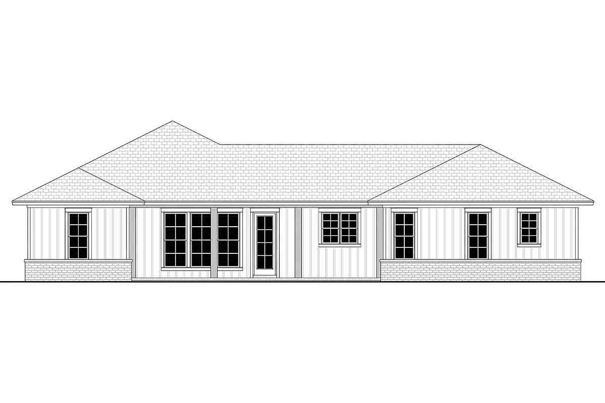 Country, Farmhouse, Ranch House Plan 56706 with 3 Beds, 3 Baths, 2 Car Garage Rear Elevation