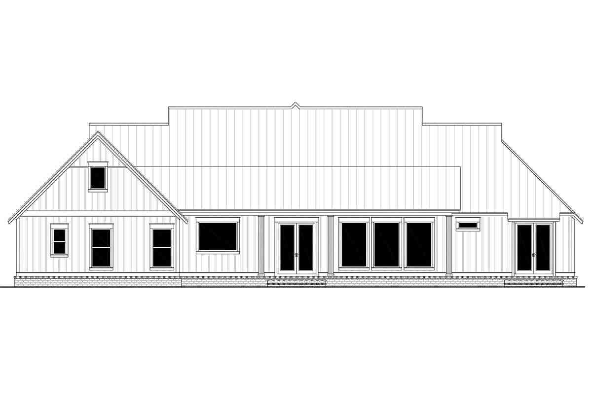 Country, Farmhouse, One-Story, Traditional House Plan 56716 with 4 Beds, 4 Baths, 3 Car Garage Rear Elevation