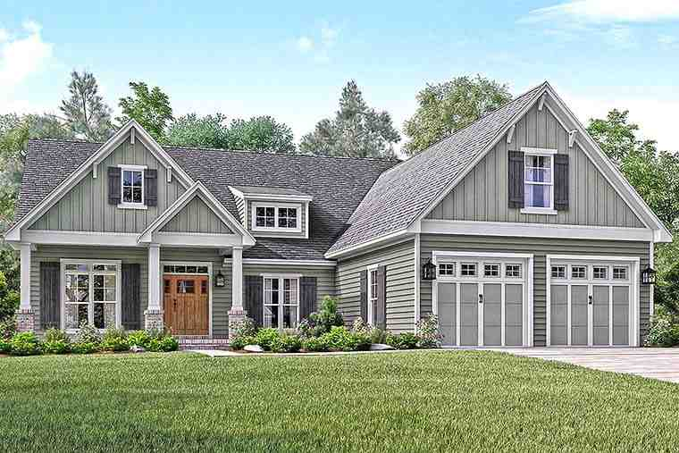 Country, Craftsman, Southern, Traditional House Plan 56910 with 3 Beds, 3 Baths, 2 Car Garage Elevation