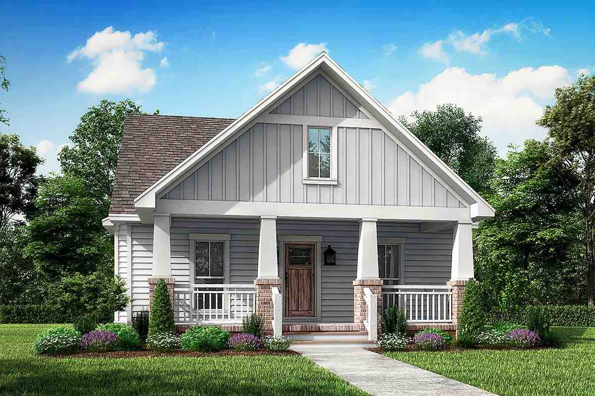 Cottage, Country, Craftsman House Plan 56996 with 3 Beds, 3 Baths, 2 Car Garage Elevation