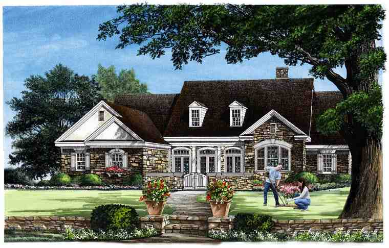 Traditional House Plan 57030 with 4 Beds, 4 Baths, 3 Car Garage Elevation