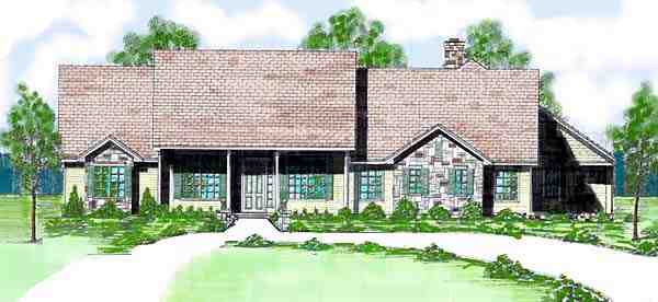 Ranch House Plan 57104 with 3 Beds, 3 Baths, 3 Car Garage Elevation