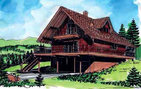 Cabin, Contemporary, Country, Narrow Lot House Plan 57340 with 3 Beds, 2 Baths, 1 Car Garage Elevation