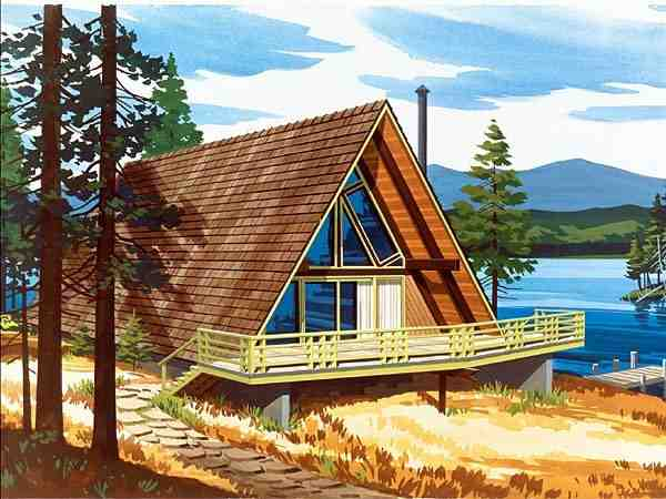 A-Frame, Contemporary, Narrow Lot, Retro House Plan 57544 with 2 Beds, 1 Baths Elevation