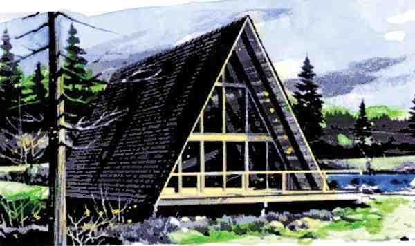 A-Frame, Contemporary House Plan 57547 with 2 Beds, 1 Baths, 1 Car Garage Elevation