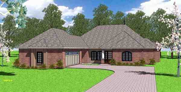 Contemporary, Florida, Southern House Plan 57899 with 4 Beds, 4 Baths, 2 Car Garage Elevation