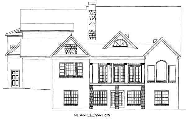 Southern House Plan 58030 with 4 Beds, 4.5 Baths, 3 Car Garage Rear Elevation