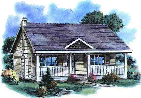 Country House Plan 58515 with 1 Beds, 1 Baths Elevation