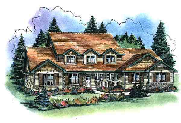 Country House Plan 58532 with 5 Beds, 4 Baths, 3 Car Garage Elevation