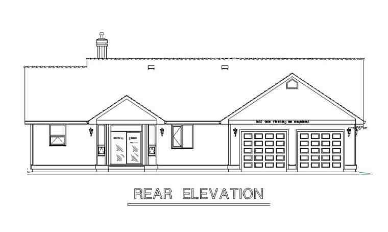 Country House Plan 58558 with 3 Beds, 3 Baths, 2 Car Garage Rear Elevation
