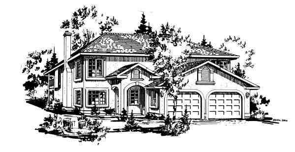 European House Plan 58877 with 3 Beds, 1 Baths, 2 Car Garage Elevation