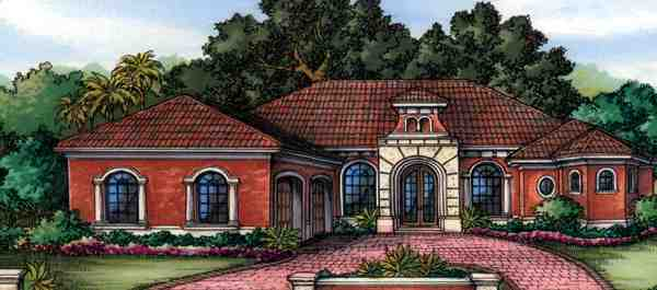 One-Story House Plan 58900 with 3 Beds, 4 Baths, 3 Car Garage Elevation