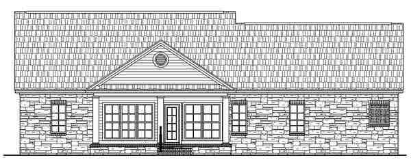 Country, Ranch, Traditional House Plan 59024 with 3 Beds, 2 Baths, 2 Car Garage Rear Elevation