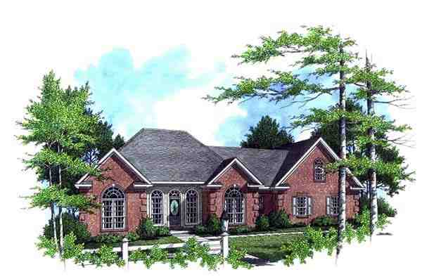 European, Ranch, Traditional House Plan 59026 with 3 Beds, 2 Baths, 2 Car Garage Elevation