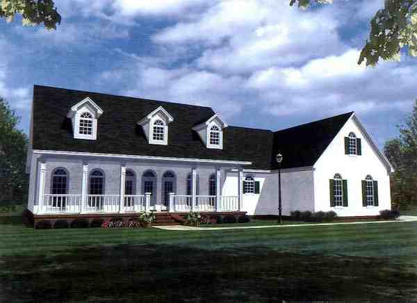 Country, Farmhouse, Ranch, Southern House Plan 59037 with 3 Beds, 3 Baths, 2 Car Garage Elevation
