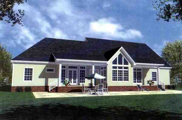 Country, Farmhouse, Ranch, Southern House Plan 59037 with 3 Beds, 3 Baths, 2 Car Garage Rear Elevation