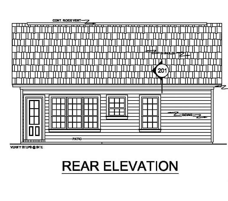 Ranch, Traditional House Plan 59043 with 2 Beds, 2 Baths Rear Elevation