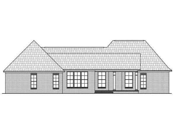 European, Ranch, Traditional House Plan 59049 with 4 Beds, 4 Baths, 2 Car Garage Rear Elevation