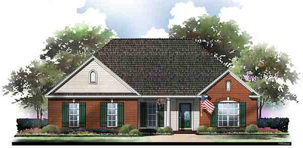 Country, European, Ranch, Traditional House Plan 59058 with 3 Beds, 2 Baths, 2 Car Garage Elevation