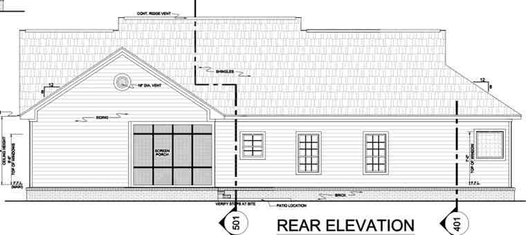 Country, Ranch, Southern, Traditional House Plan 59068 with 3 Beds, 3 Baths, 2 Car Garage Rear Elevation