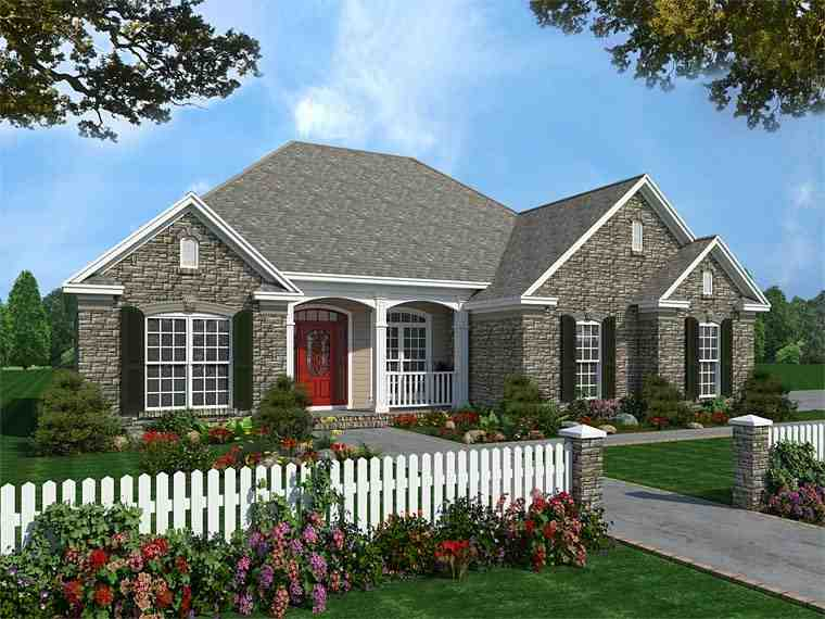 Country, Craftsman, European, Traditional House Plan 59082 with 3 Beds, 2 Baths, 2 Car Garage Elevation