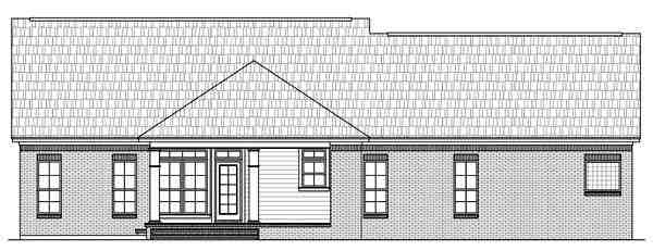 Country, European, Traditional House Plan 59106 with 3 Beds, 2.5 Baths, 2 Car Garage Rear Elevation