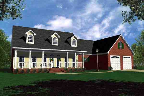 Country, Ranch, Traditional House Plan 59107 with 3 Beds, 3 Baths, 2 Car Garage Elevation