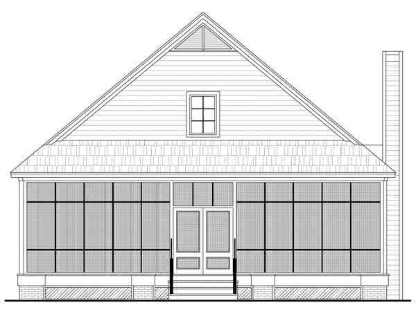 Country, Farmhouse, Traditional House Plan 59124 with 3 Beds, 3 Baths, 2 Car Garage Rear Elevation