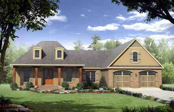 Country, European, French Country House Plan 59125 with 3 Beds, 3 Baths, 2 Car Garage Elevation
