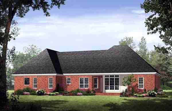 Country, European, Traditional House Plan 59128 with 3 Beds, 3 Baths, 2 Car Garage Rear Elevation